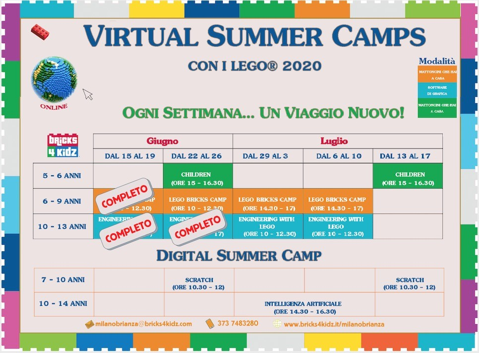 Bricks 4 Kidz LEGO virtual camp_giugno